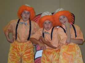 Ben Patton, Casey Perez, and Landon Wright as the Wickersham Brothers in Seussical the Musical Jr. (2014)